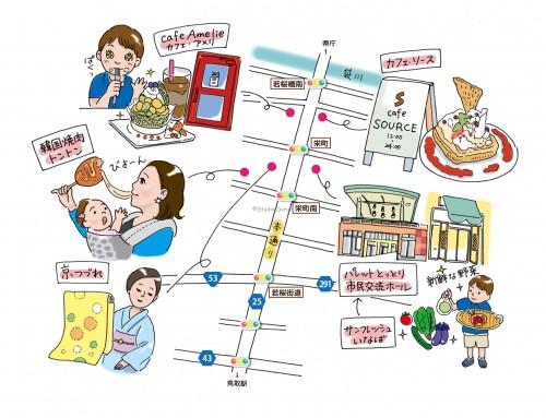 イラストマップ制作-うさぎの耳Vol.304-本通商店街